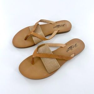 Lucky Brand Tan Gold Sandals Size 5.5 M